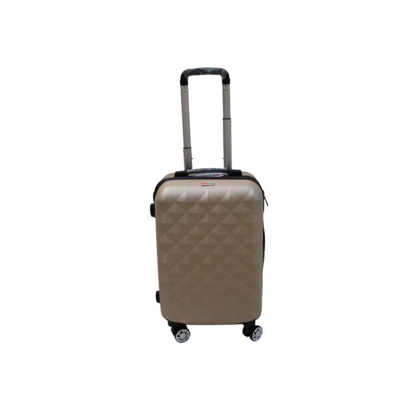 Βαλίτσα τρόλλεϋ με σκληρό εξωτερικό σκελετό και κλειδαριά ασφαλείας, χρώμα χρυσό, 61x38x24