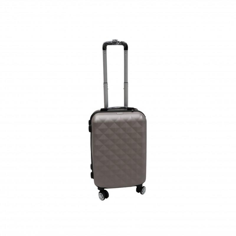 Βαλίτσα τρόλλεϋ με σκληρό εξωτερικό σκελετό και κλειδαριά ασφαλείας, χρώμα γκρι, 61x38x24