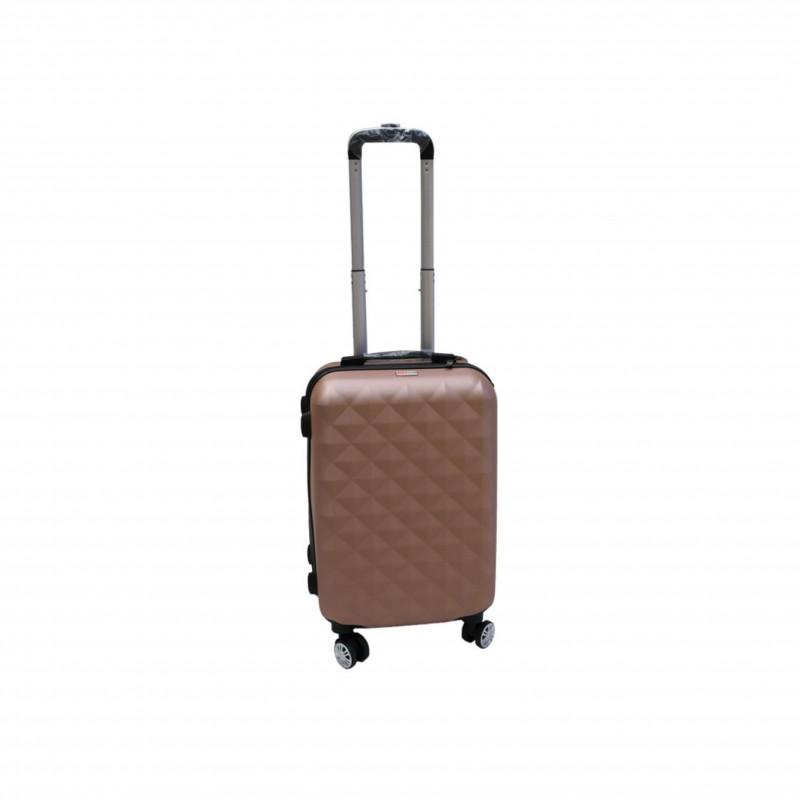 Βαλίτσα τρόλλεϋ με σκληρό εξωτερικό σκελετό και κλειδαριά ασφαλείας, χρώμα ροζ-χρυσό, 61x38x24