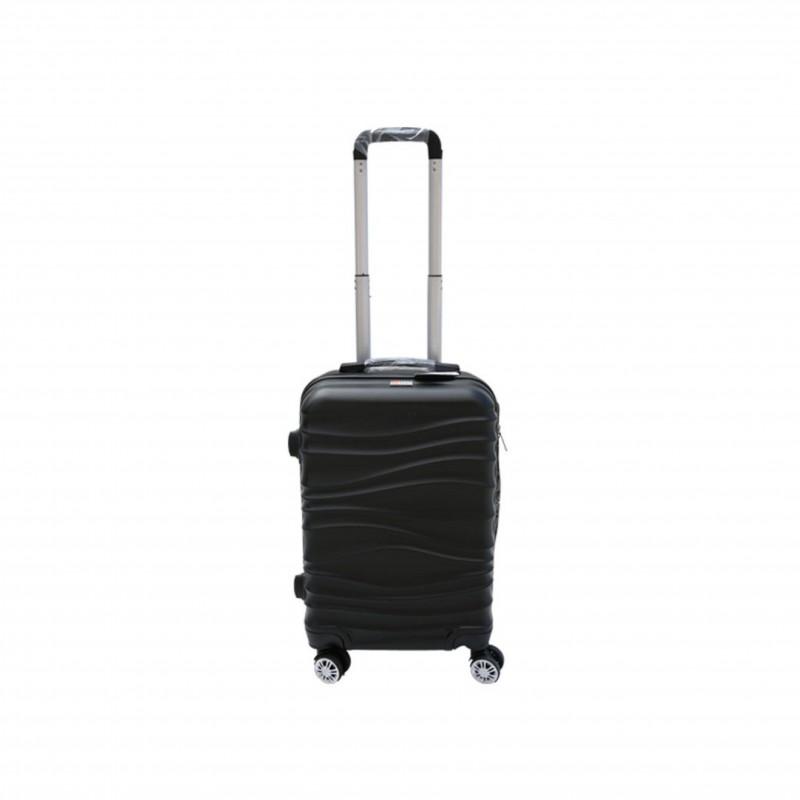 Βαλίτσα τρόλλεϋ με σκληρό εξωτερικό σκελετό και κλειδαριά ασφαλείας, χρώμα μαύρο, 61x38x24