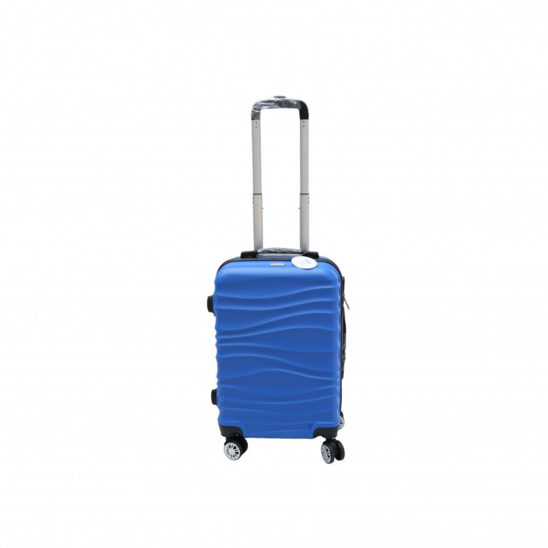 Βαλίτσα τρόλλεϋ με σκληρό εξωτερικό σκελετό και κλειδαριά ασφαλείας, χρώμα μπλε, 61x38x24