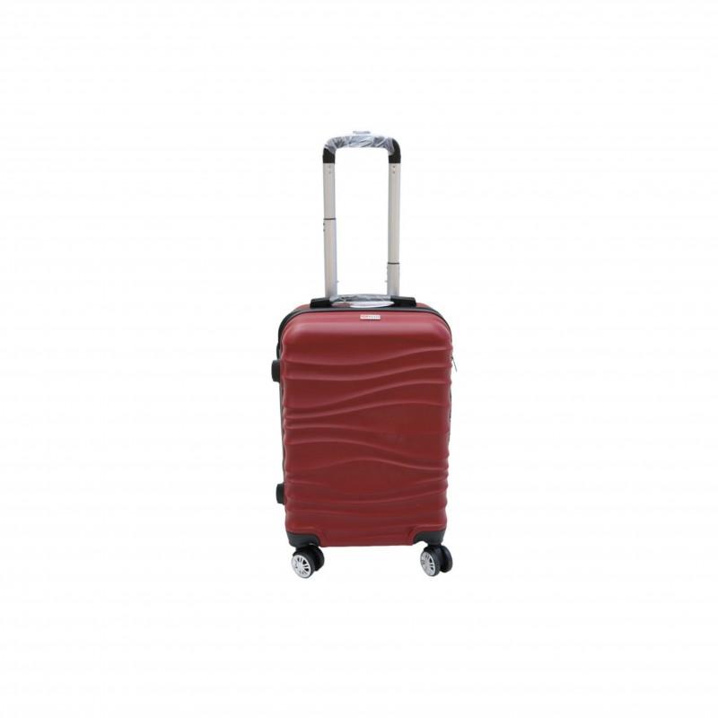 Βαλίτσα τρόλλεϋ με σκληρό εξωτερικό σκελετό και κλειδαριά ασφαλείας, χρώμα μπορντώ, 61x38x24