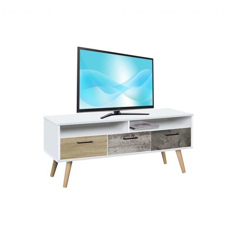 """Έπιπλο TV """"EARTH"""" με 3 συρτάρια και ράφι σε λευκό χρώμα 120x42x52"""