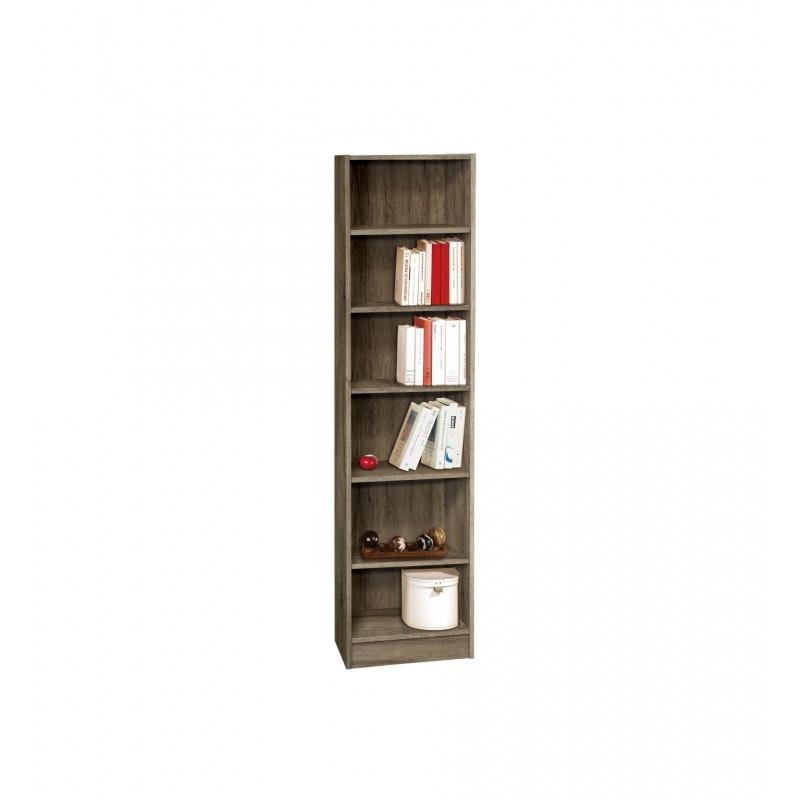 Βιβλιοθήκη με 6 ράφια σε χρώμα καφέ-δρυς 44x30x181