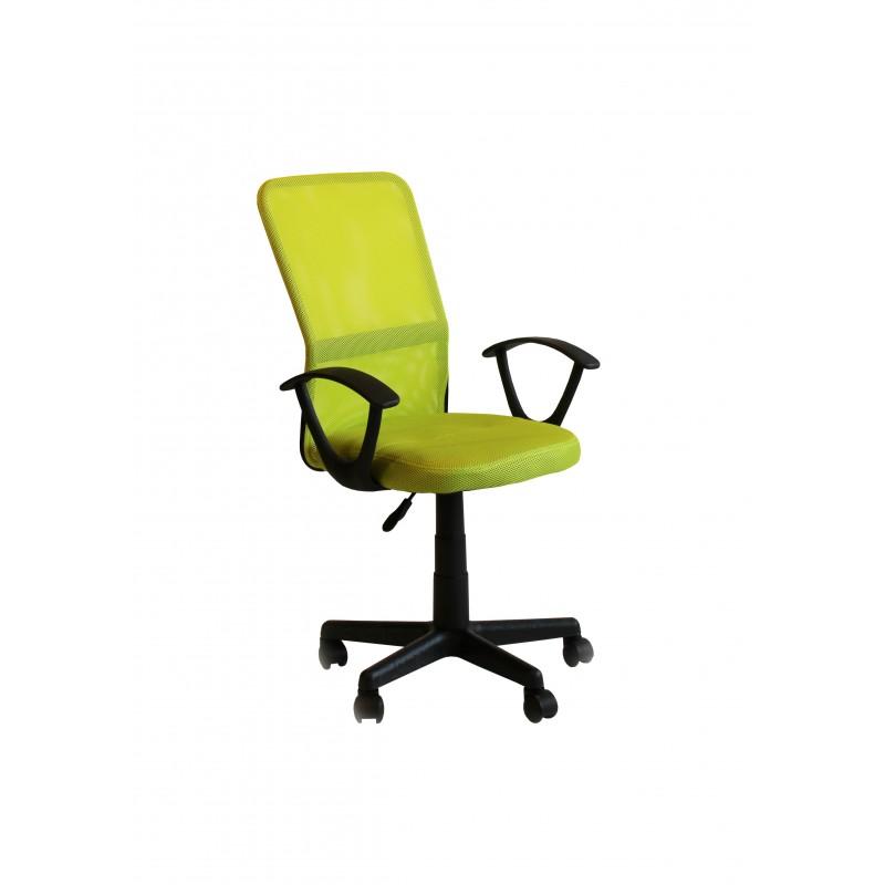"""Πολυθρόνα εργασίας """"UNIQUE"""" από ύφασμα mesh σε χρώμα λαχανί 53x53x90/110"""