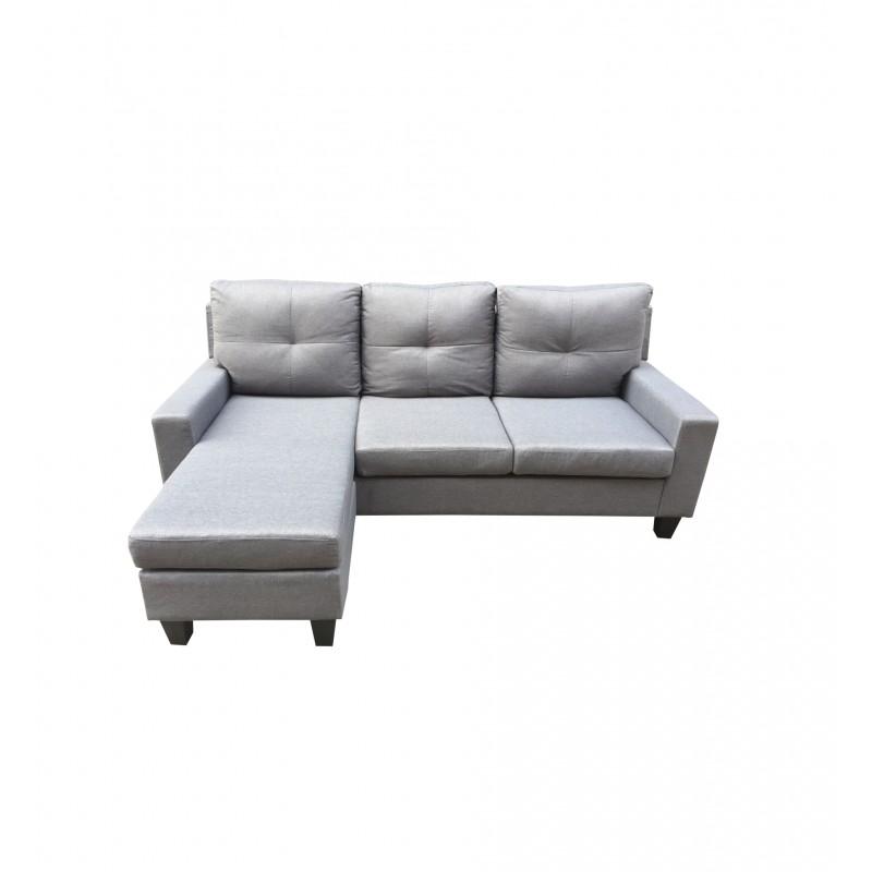 """Καναπές-κρεβάτι """"""""ASHLEY"""" αναστρέψιμος υφασμάτινος σε χρώμα γκρι 214x146x(8264)x84"""