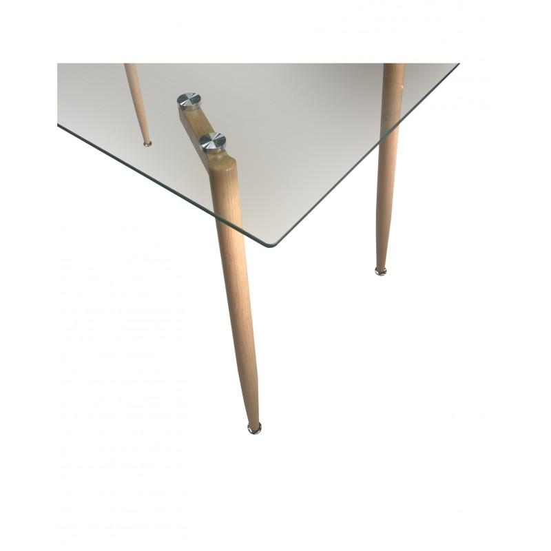 """Τραπέζι """"ALONSO"""" ορθογώνιο μεταλλικό με γυάλινη επιφάνεια 120x70x75"""