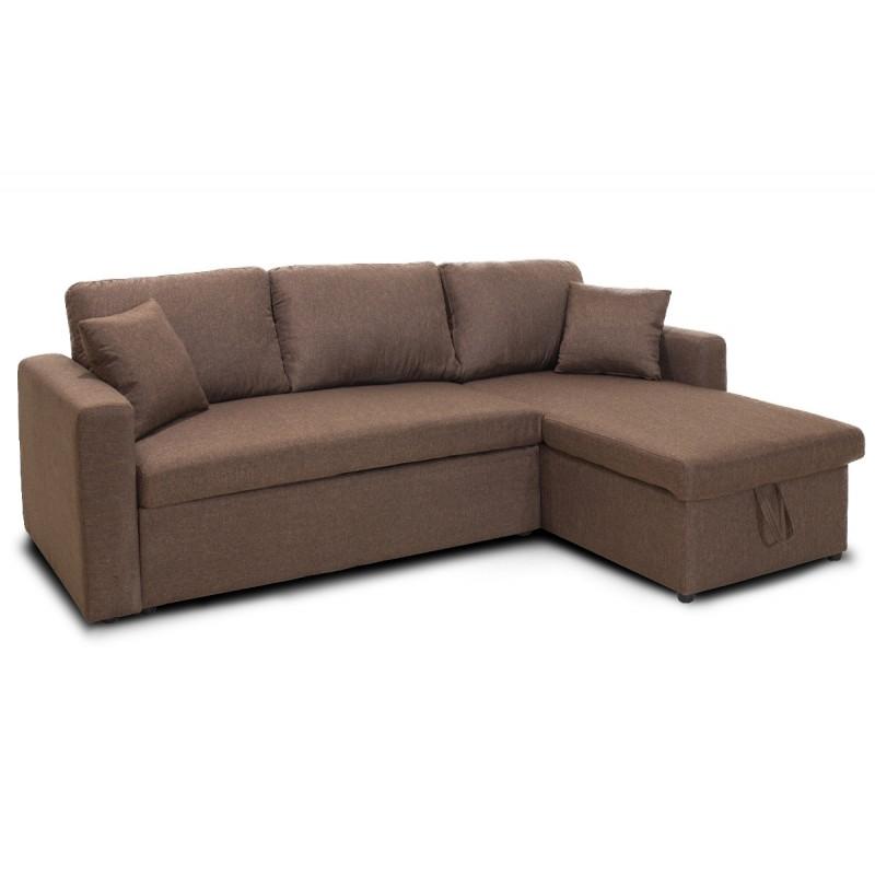 """Καναπές γωνία-κρεβάτι """"SANTOS"""" αναστρέψιμος υφασμάτινος σε χρώμα καφέ 222x146(82+64)x89"""