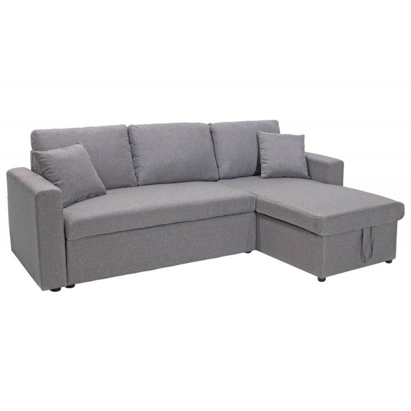 """Καναπές γωνία-κρεβάτι """"SANTOS"""" αναστρέψιμος υφασμάτινος σε χρώμα γκρι 222x146(82+64)x89"""