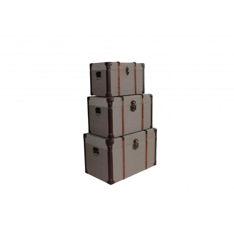 Σετ 3 τμχ. μπαούλα ξύλινα με επένδυση υφάσματος σε χρώμα μπεζ