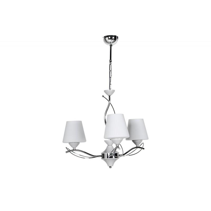 """Φωτιστικό οροφής """"SELENAY"""" 3φωτο μεταλλικό/γυάλινο σε χρώμα ασημί/λευκό Φ50x65"""