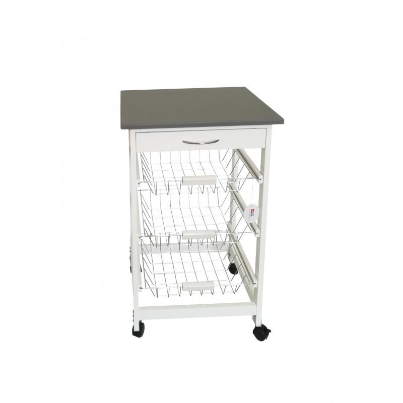 Μανάβης κουζίνας με ξύλινο σκελετό σε λευκό χρώμα 47x37x76