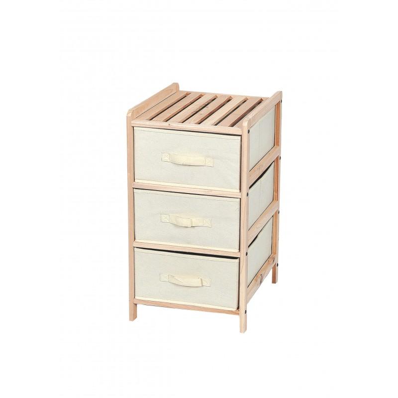 Συρταριέρα με ξύλινο σκελετό σε φυσικό χρώμα και 3 συρτάρια 35X37X67