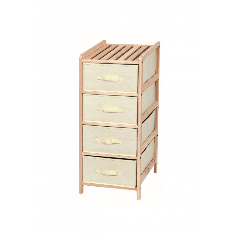 Συρταριέρα με ξύλινο σκελετό σε φυσικό χρώμα και 4 συρτάρια 35x37x86