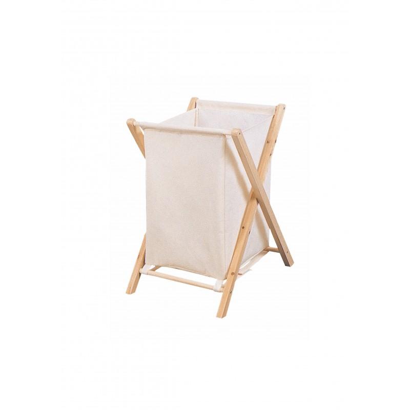 Καλάθι απλύτων με ύφασμα σε εκρού χρώμα 40x39x60