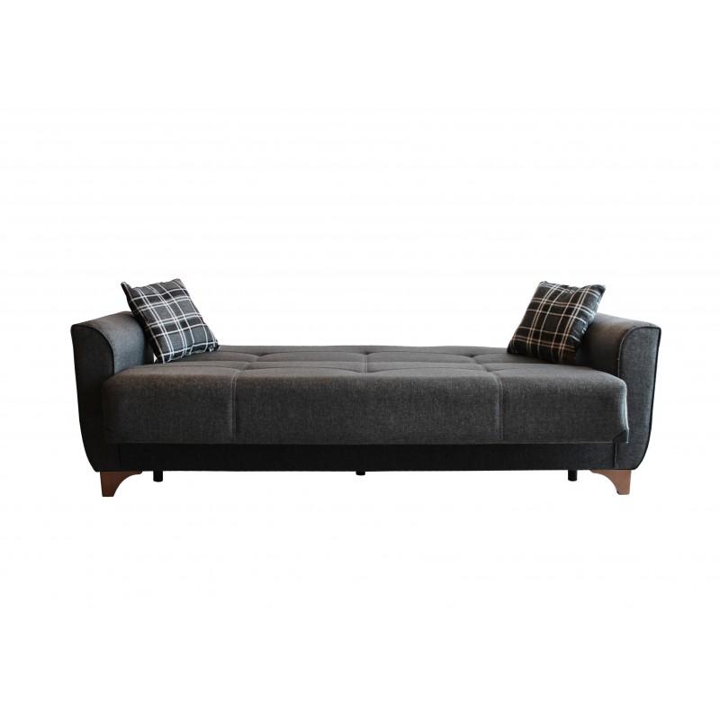 Καναπές-κρεβάτι τριθέσιος MANHATTAN με επένδυση ύφασμα σε χρώμα γκρι 216x81x92εκ.