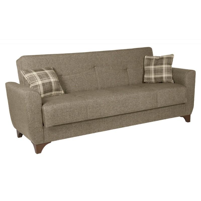 Καναπές-κρεβάτι τριθέσιος MANHATTAN με επένδυση ύφασμα σε χρώμα μπεζ 216x81x92εκ.
