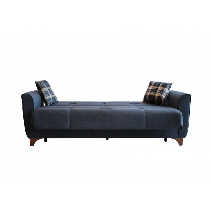 Καναπές-κρεβάτι τριθέσιος MANHATTAN με επένδυση ύφασμα σε χρώμα μπλε 216x81x92εκ.