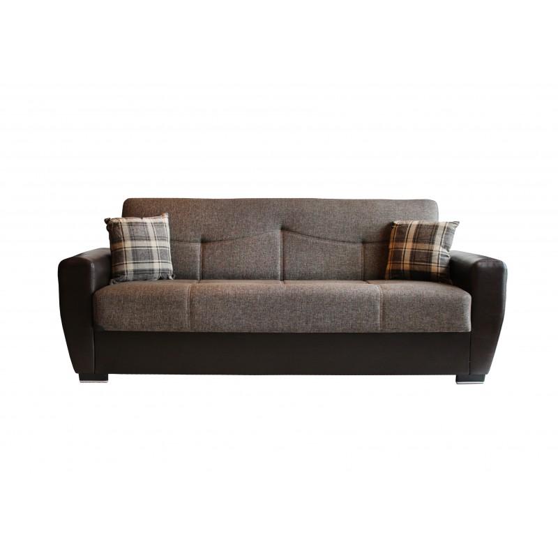 Καναπές-κρεβάτι τριθέσιος TORONTO με επένδυση ύφασμα και PU σε χρώμα καφέ 216x81x92εκ.