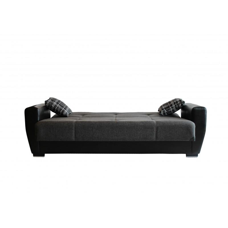 Καναπές-κρεβάτι τριθέσιος TORONTO με επένδυση ύφασμα και PU σε χρώμα γκρι 216x81x92εκ.