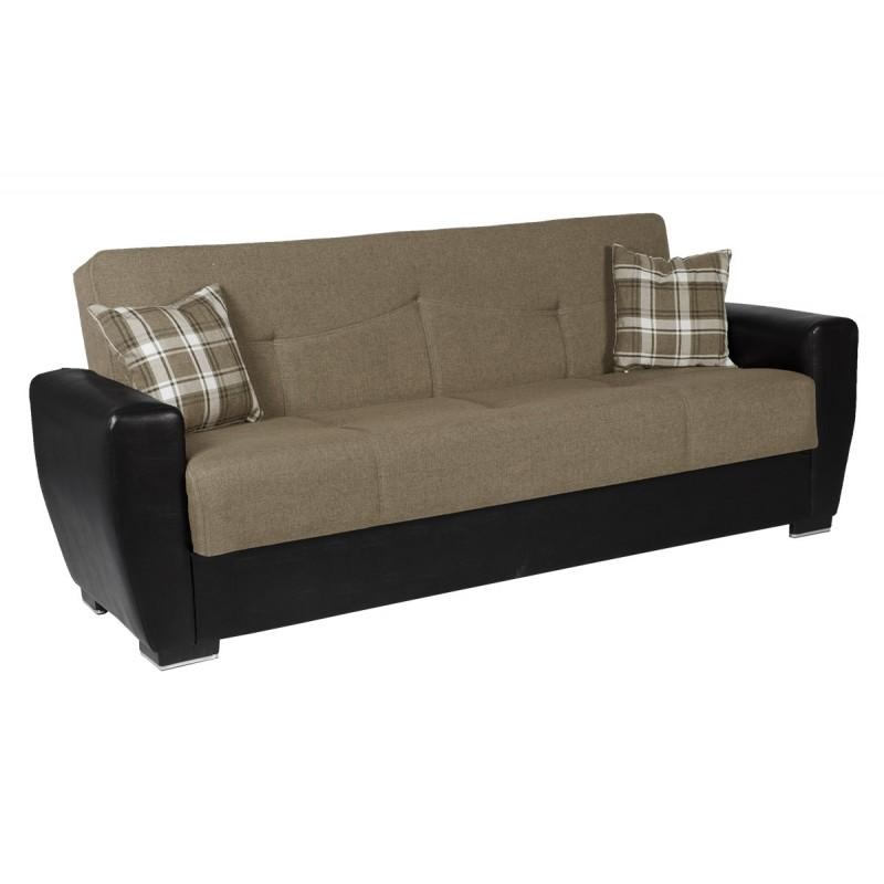 Καναπές-κρεβάτι τριθέσιος TORONTO με επένδυση ύφασμα και PU σε χρώμα μπεζ 216x81x92εκ.