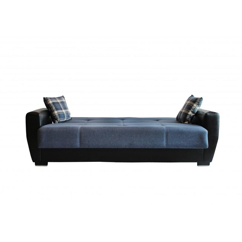 Καναπές-κρεβάτι τριθέσιος TORONTO με επένδυση ύφασμα και PU σε χρώμα μπλε 216x81x92εκ.