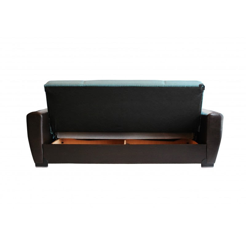 Καναπές-κρεβάτι τριθέσιος TORONTO με επένδυση ύφασμα και PU σε χρώμα τυρκουαζ 216x81x92εκ.