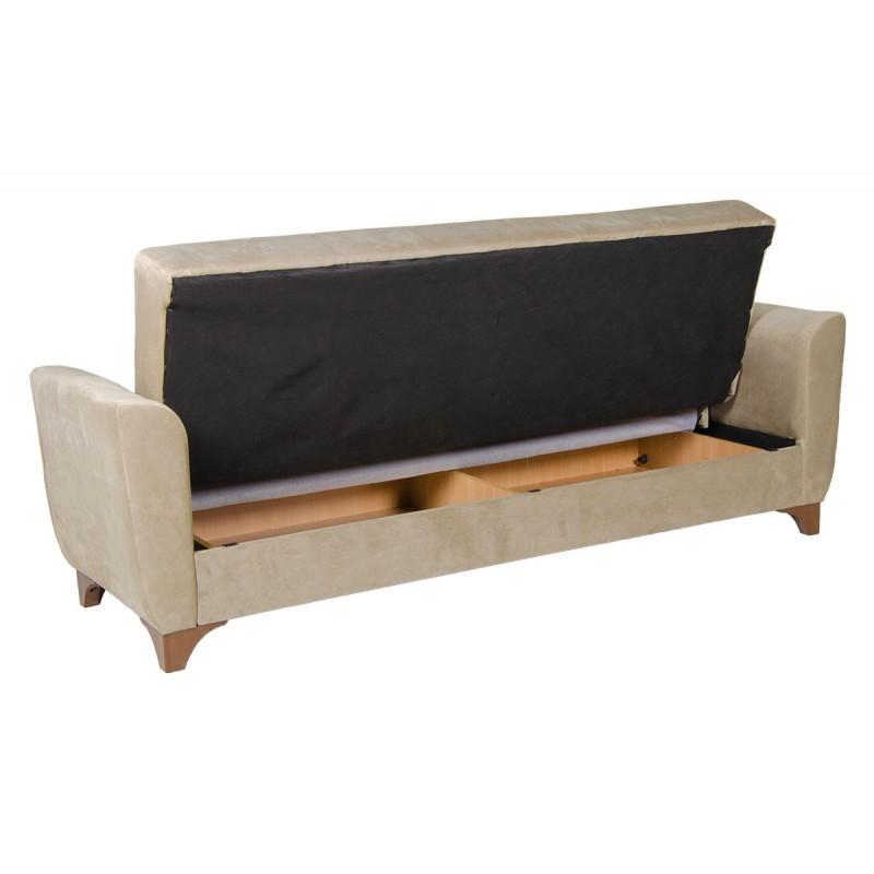 Καναπές-κρεβάτι τριθέσιος FRORIDA με επένδυση ύφασμα σε χρώμα μπεζ-καφε 216x81x92εκ.