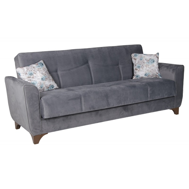 Καναπές-κρεβάτι τριθέσιος FRORIDA με επένδυση ύφασμα σε χρώμα γκρι 216x81x92εκ.