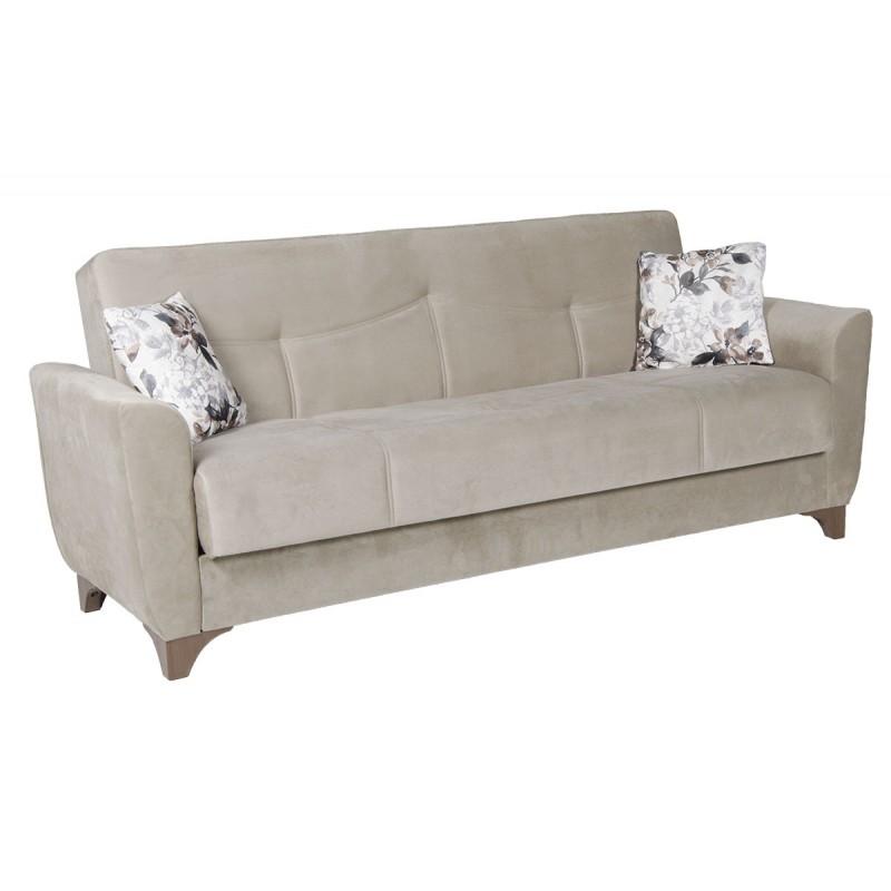 Καναπές-κρεβάτι τριθέσιος FRORIDA με επένδυση ύφασμα σε χρώμα μπεζ-γκρι 216x81x92εκ.