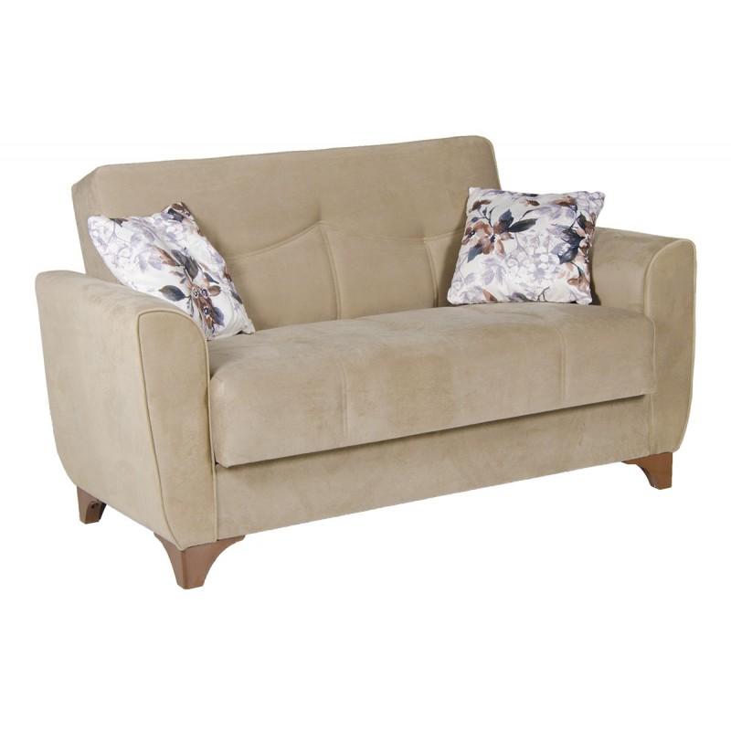 Καναπές-κρεβάτι διθέσιος FRORIDA με επένδυση ύφασμα σε χρώμα μπεζ-καφέ 153x88x90εκ.
