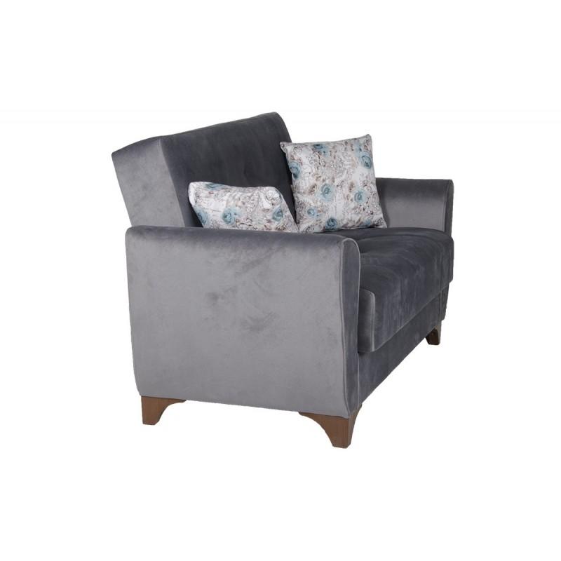 Καναπές-κρεβάτι διθέσιος FRORIDA με επένδυση ύφασμα σε χρώμα γκρι 153x88x90εκ.