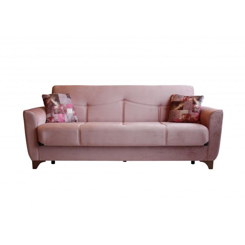 Καναπές-κρεβάτι τριθέσιος FRORIDA με επένδυση ύφασμα σε χρώμα σάπιο-μήλο 216x81x92εκ.