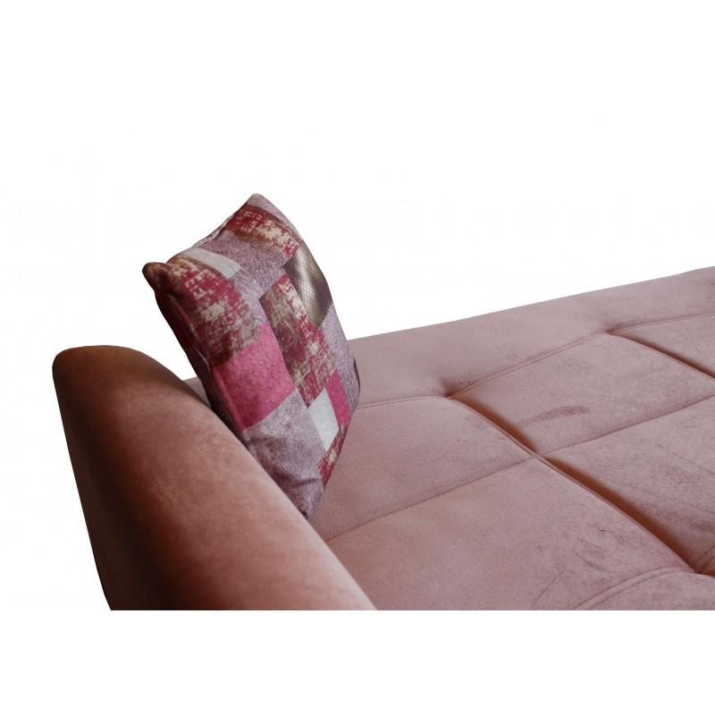 Καναπές-κρεβάτι διθέσιος FRORIDA με επένδυση ύφασμα σε χρώμα σάπιο-μήλο 153x88x90εκ.