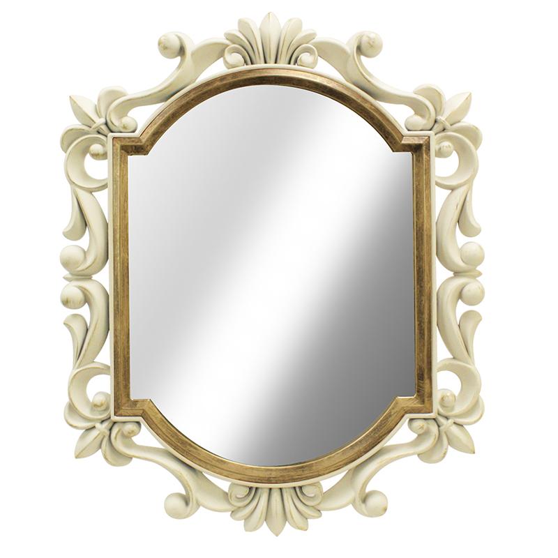 Καθρέφτης τοίχου με πλαστική κορνίζα σε χρώμα antique white 75x60εκ.