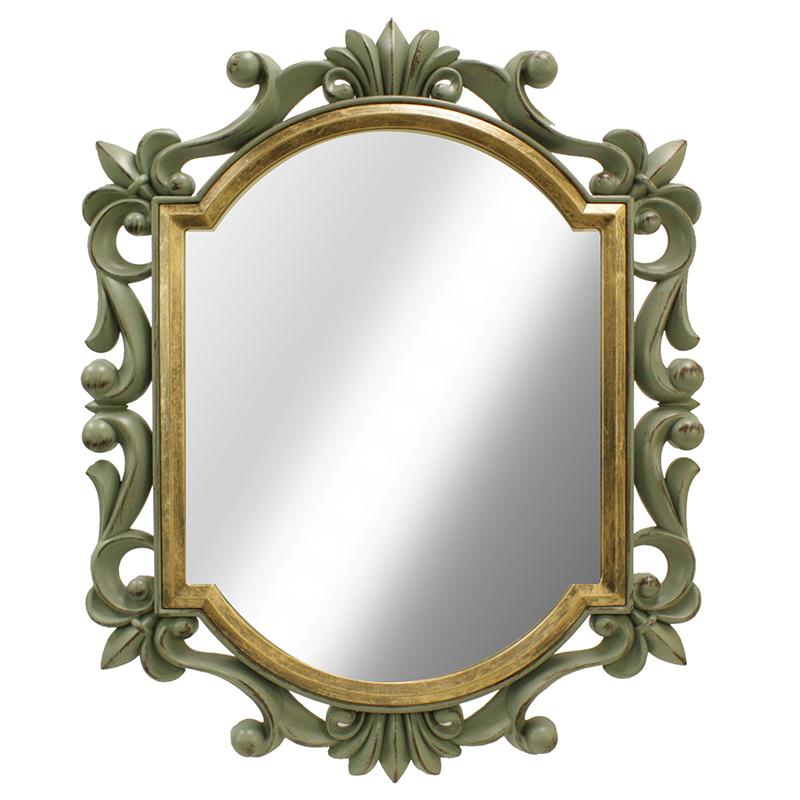 Καθρέφτης τοίχου με πλαστική κορνίζα σε χρώμα sage/gold 75x60εκ.