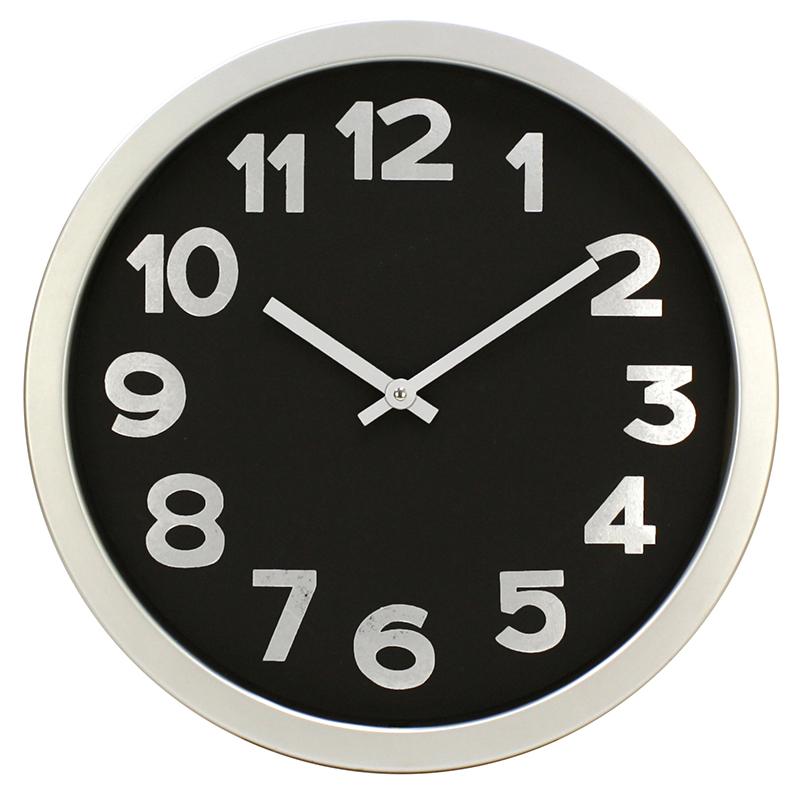 Ρολόι τοίχου πλαστικό σε χρώμα black/silver Ø40εκ.