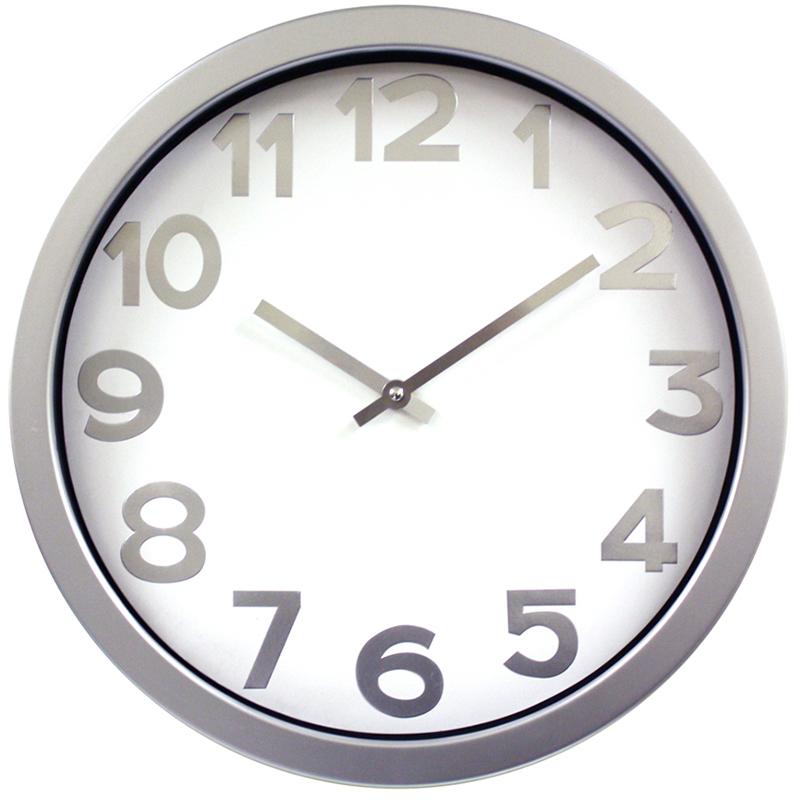 Ρολόι τοίχου πλαστικό σε χρώμα white/silver Ø40εκ.