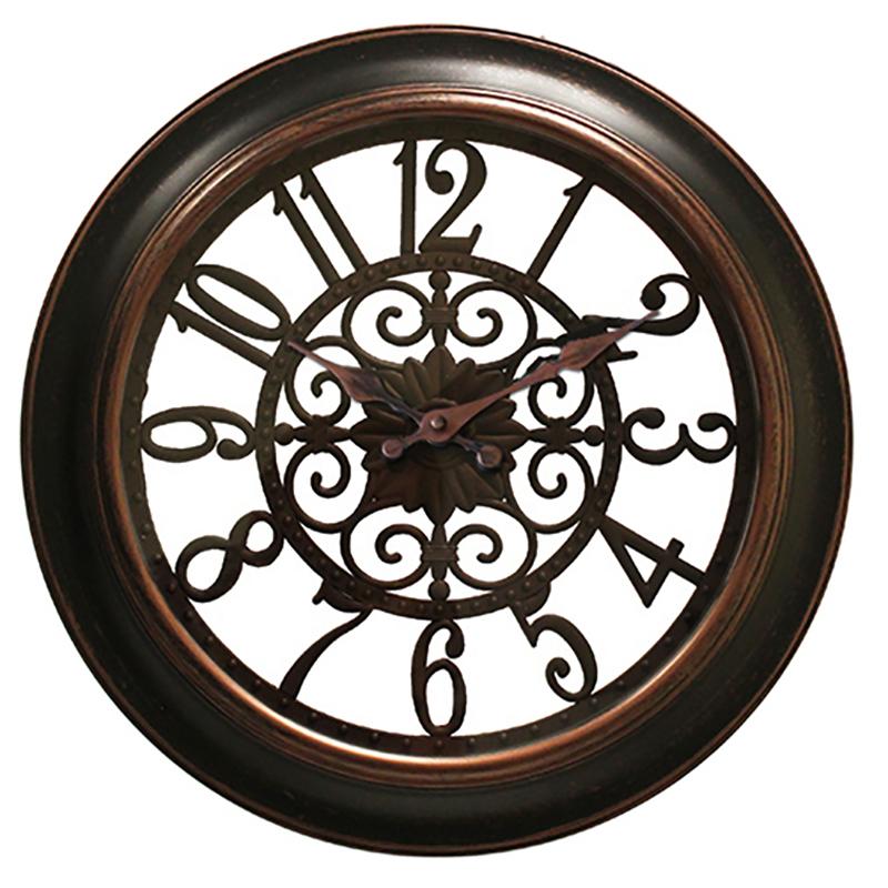 Ρολόι τοίχου πλαστικό σε χρώμα black/copper Ø40εκ.