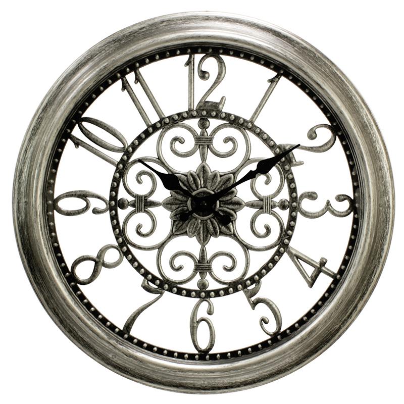 Ρολόι τοίχου πλαστικό σε χρώμα dark silver Ø40εκ.