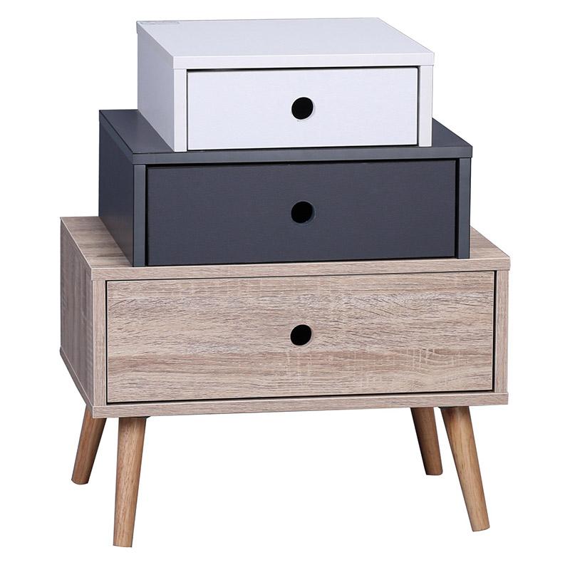 """Συρταριέρα """"EARTH"""" με 3 συρτάρια σε χρώμα λευκό-γκρι-καφέ 52x36x62"""