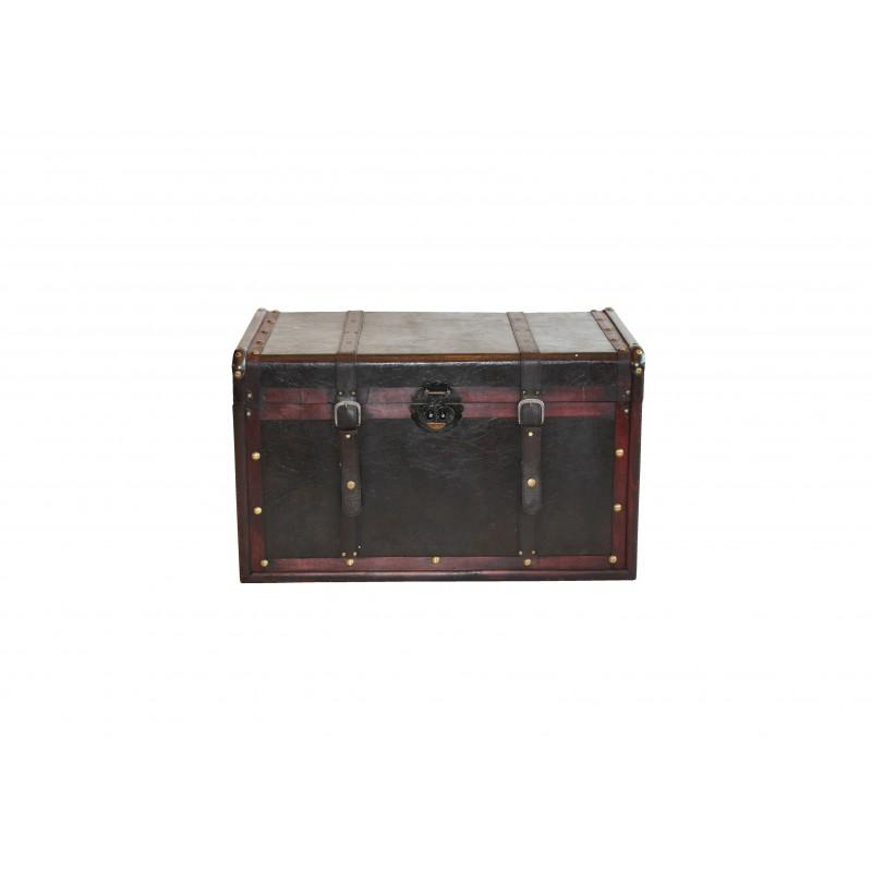 Μπαούλο ξύλινο σε σκούρο καφέ χρώμα 60x35x35