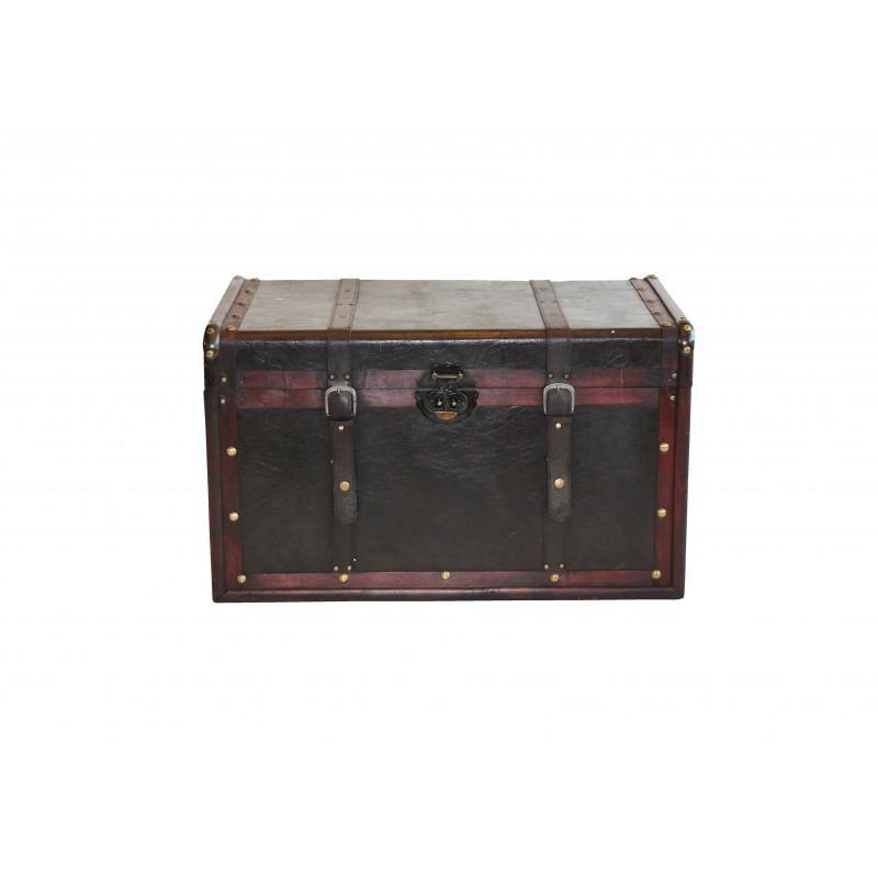 Μπαούλο ξύλινο σε σκούρο καφέ χρώμα 75x45x45