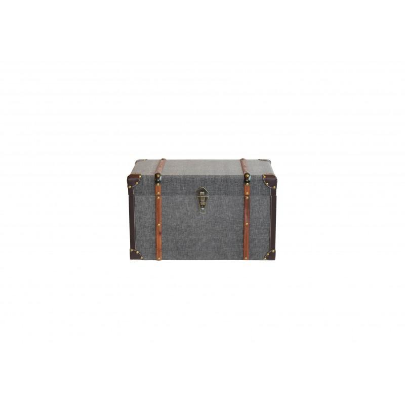 Μπαούλο ξύλινο-υφασμάτινο σε γκρι χρώμα 50x29x30
