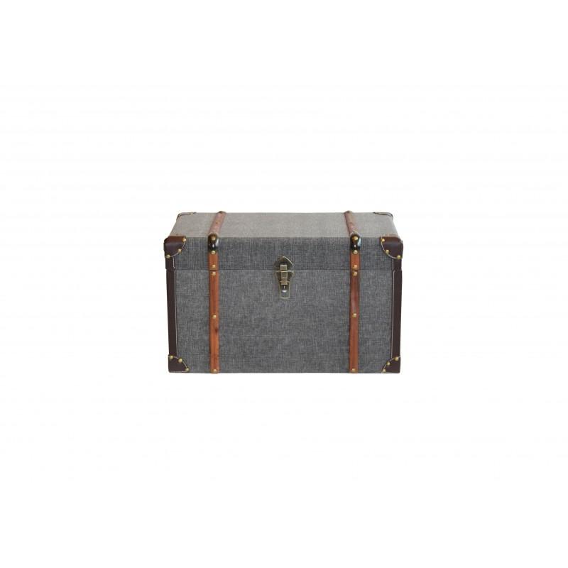 Μπαούλο ξύλινο-υφασμάτινο σε γκρι χρώμα 60x35x36