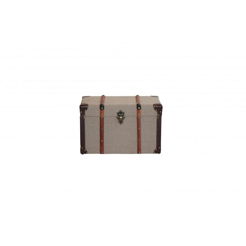 Μπαούλο ξύλινο-υφασμάτινο σε μπεζ-καφέ χρώμα 50x29x30