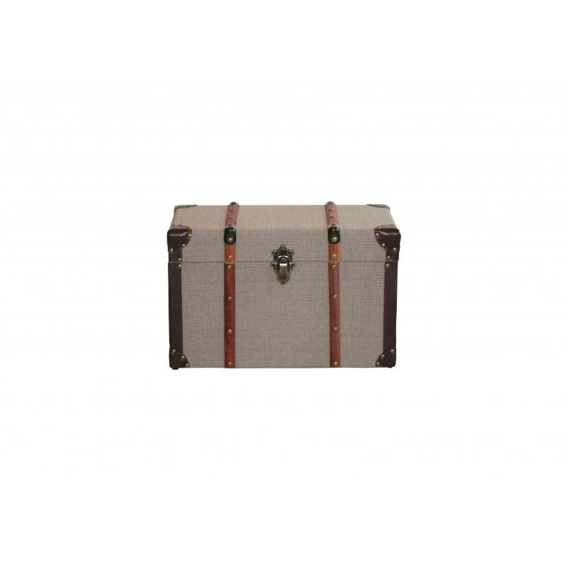 Μπαούλο ξύλινο-υφασμάτινο σε μπεζ-καφέ χρώμα 60x35x36