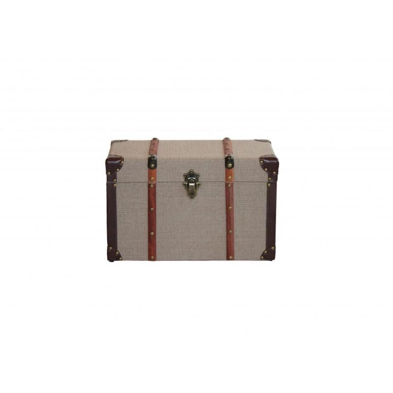 Μπαούλο ξύλινο-υφασμάτινο σε μπεζ-καφέ χρώμα 75x41x42