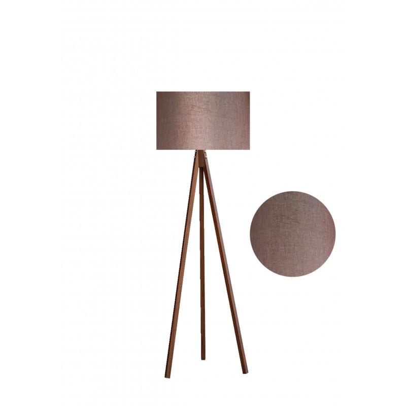 """Φωτιστικό δαπέδου """"EPOKA"""" καφέ ξύλινα πόδια-καφέ καπέλο 40x40x145εκ"""