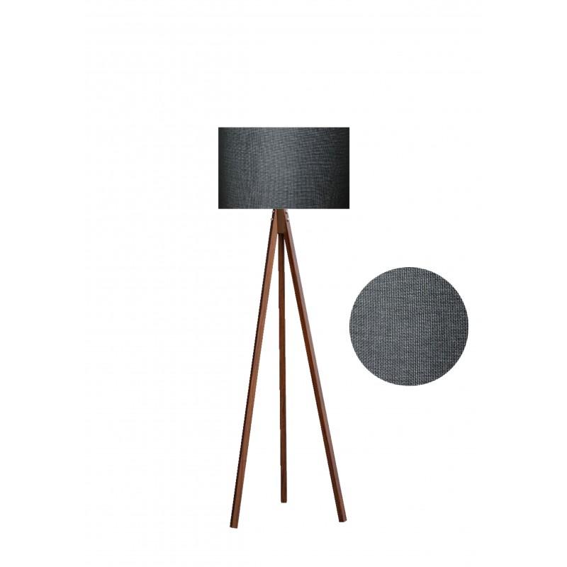 """Φωτιστικό δαπέδου """"EPOKA"""" καφέ ξύλινα πόδια-γκρι σκούρο καπέλο 40x40x145εκ"""